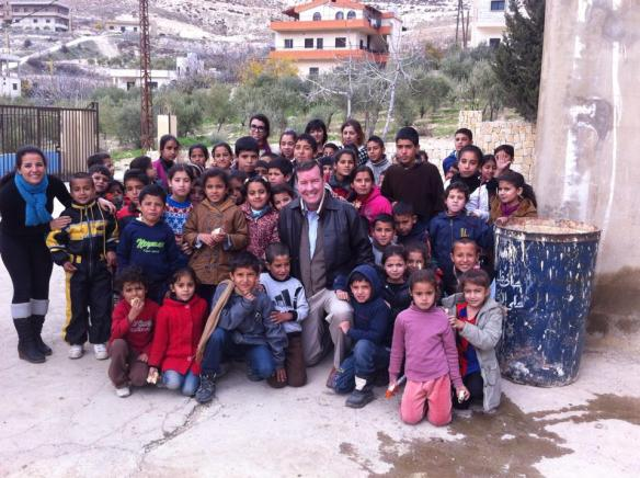 Chris Seiple with refugee children in Bekaa Valley