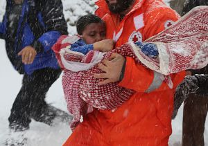 refugee baby caught in snow storm