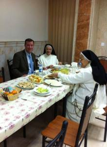 Chris Seiple has a meal with Dominican Sisters