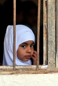 Iraqi girl at window